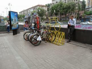 В Киеве на Крещатике пункты по прокату велосипедов не пользуются популярностью
