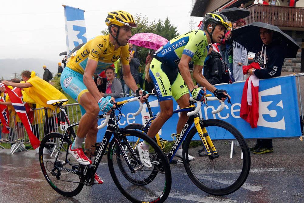 Винченцо Нибали и Альберто контадор на Тур де Франс 2014