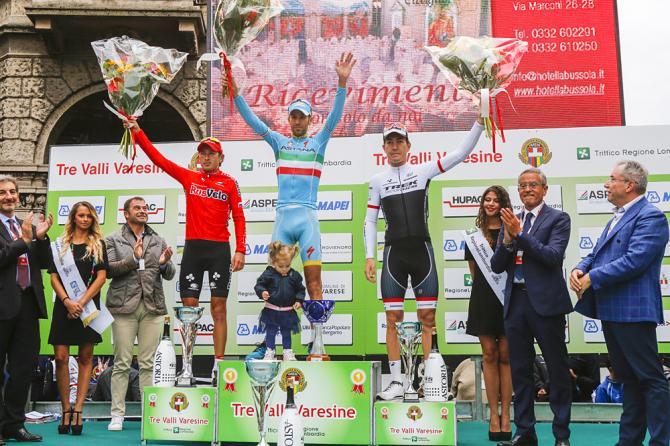Sergey Firsanov (Rus) RusVelo, Vincenzo Nibali (Ita) Astana Pro Team, Giacomo Nizzolo (Ita) Trek Factory Racing