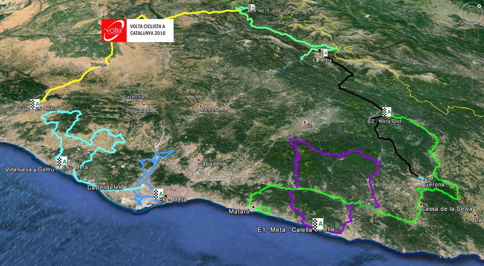 Весь маршрут Вуэльты Каталонии 2016
