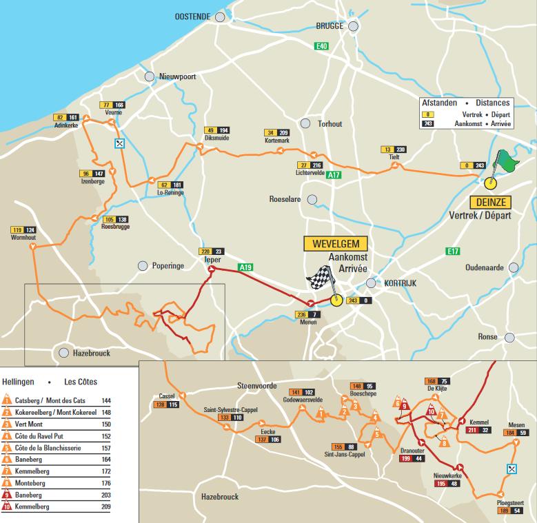 Гент - Вевельгем 2016 маршрут