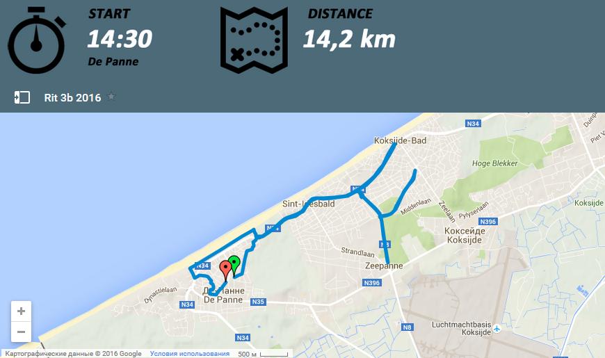 Маршрут Три дня де Панне 2016 этап 3b