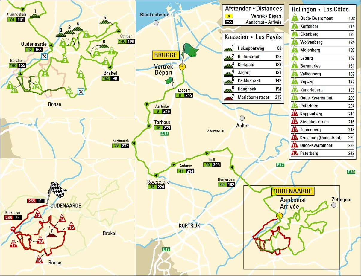 Маршрут Тура Фландрии 2016