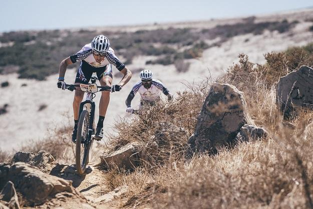 Investec Songo Specialized's Christoph Sauser and Sipho Madolo during the prologue (Mark Sampson/Cape Epic/Sportzpics)