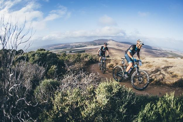 Hans Jensen and Timothy Blegenhout ride together (Mark Sampson/Cape Epic/Sportzpics)