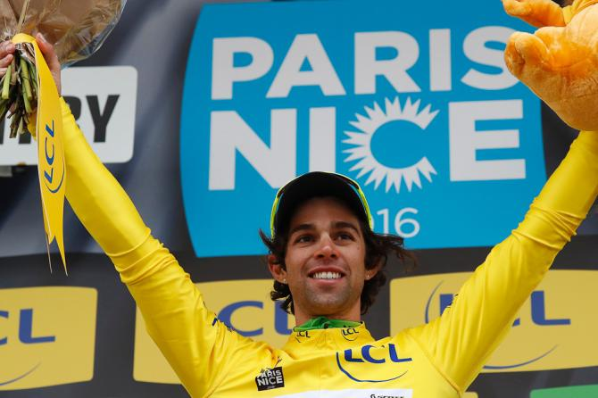 Michael Matthews celebrates on the podium with his yellow jersey, after the second stage of the 74th edition of the Paris-Nice (Getty Images Sport)