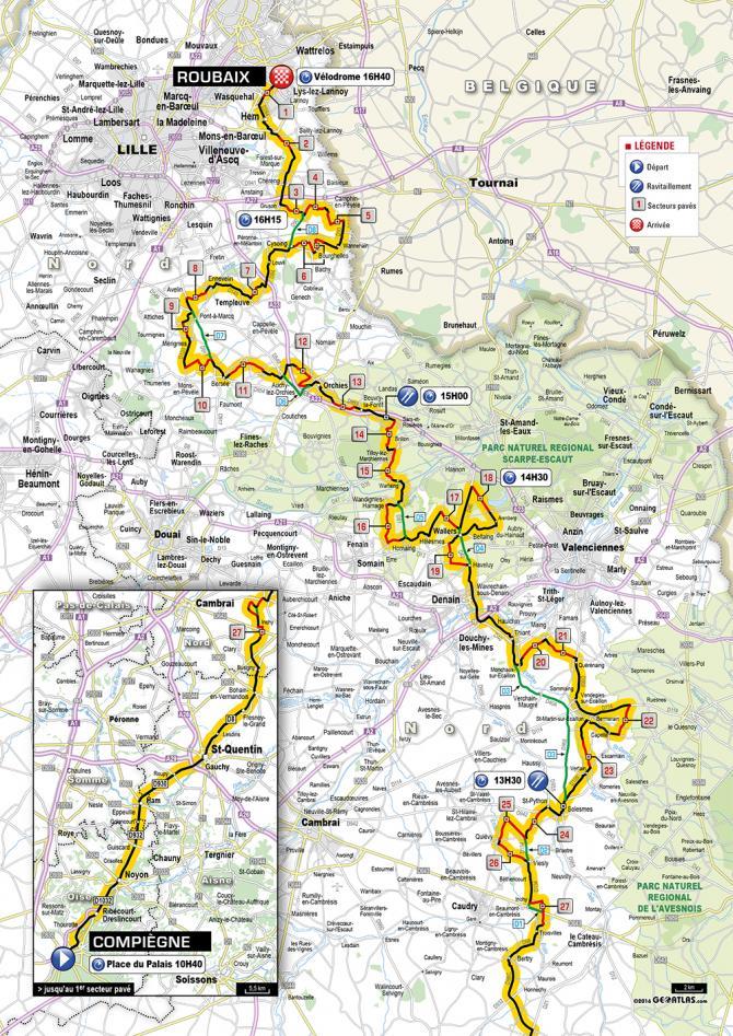 Карта маршрута Париж- Рубе 2016