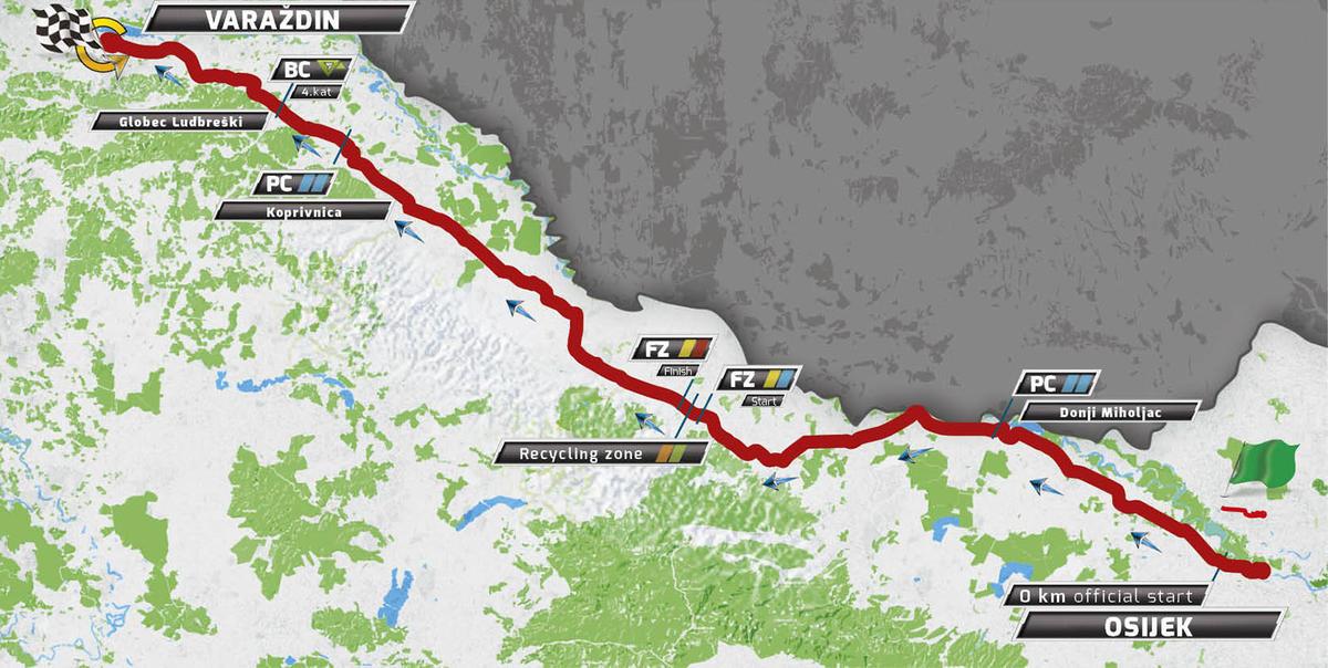 Карта маршрута 1 этапа Тура Хорватии 2016