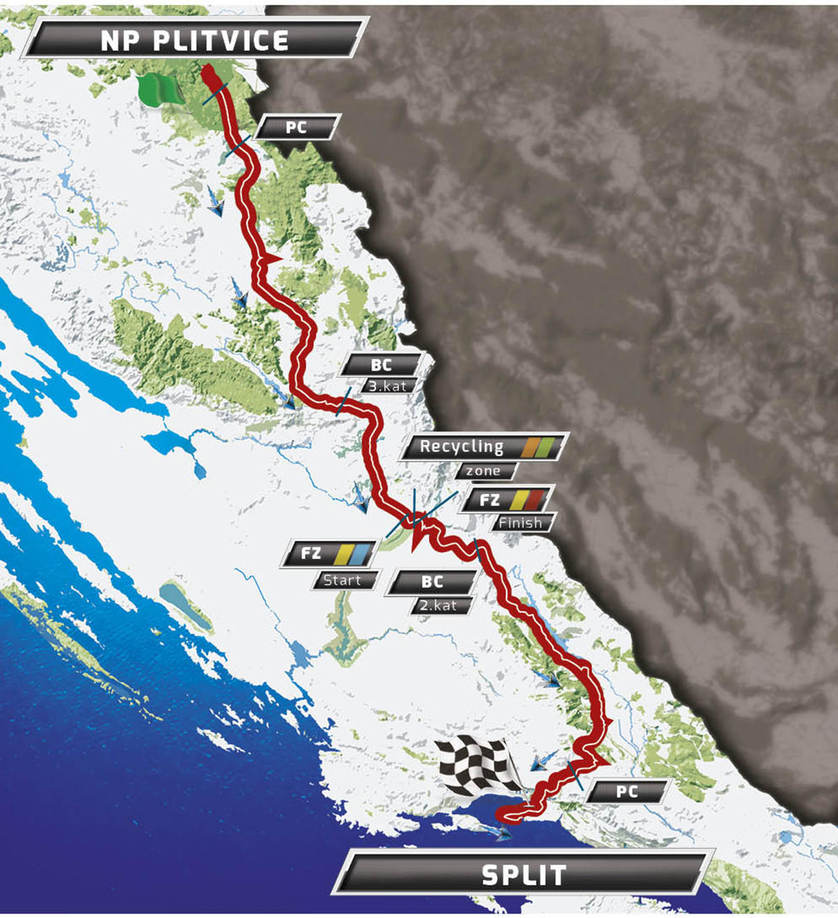 Карта маршрута 2 этапа Тура Хорватии 2016