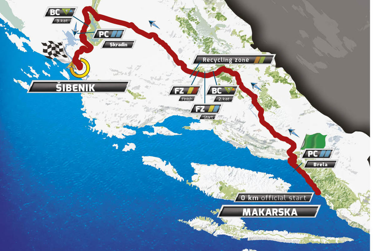 Карта маршрута 3 этапа Тура Хорватии 2016