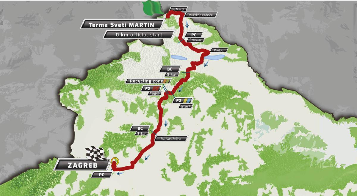 Карта маршрута 6 этапа Тура Хорватии 2016