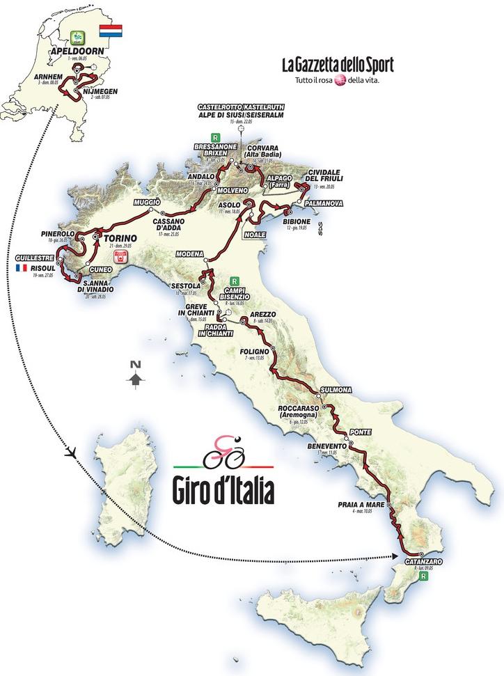 Карта всего маршрута Джиро д'Италия 2016