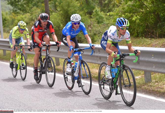 Giro d'Italia 5 этап отрыв: Daniel Oss (BMC), Alexander Foliforov (Gazprom), Amets Txurukka (Orica-GreenEdge), Pavel Brutt (Katusha) (фото: Tim de Waele/TDWSport.com)