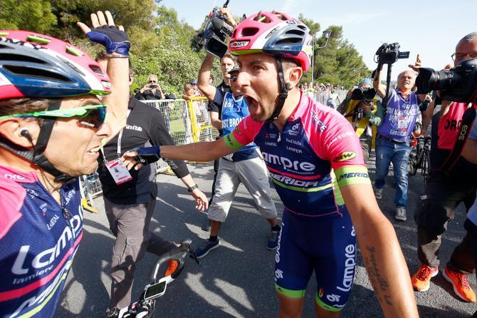 Diego Ulissi (Lampre-Merida) празднует после победы на четвёртом этапе 11 Джиро д'Италии (фото: Bettini Photo)