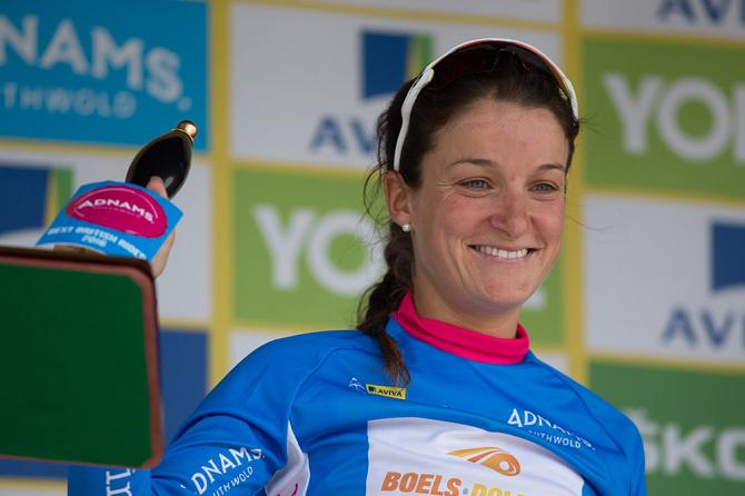 Lizzie Armitstead (GBR) of Boels-Dolmans Cycling Team celebrates the best British rider's jersey after the Aviva Women's Tour 2016 - Stage 1 (фото: Sean Robinson/Velofocus)