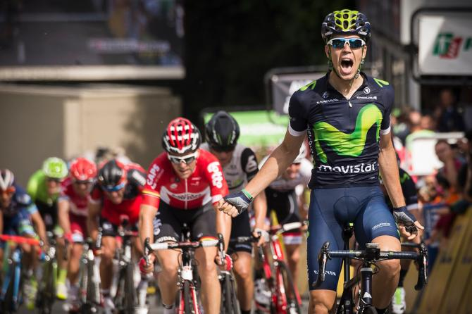 Jesus Herrada (Movistar) celebrates winning stage 2 at the Criterium du Dauphine (фото: Getty Images Sport)