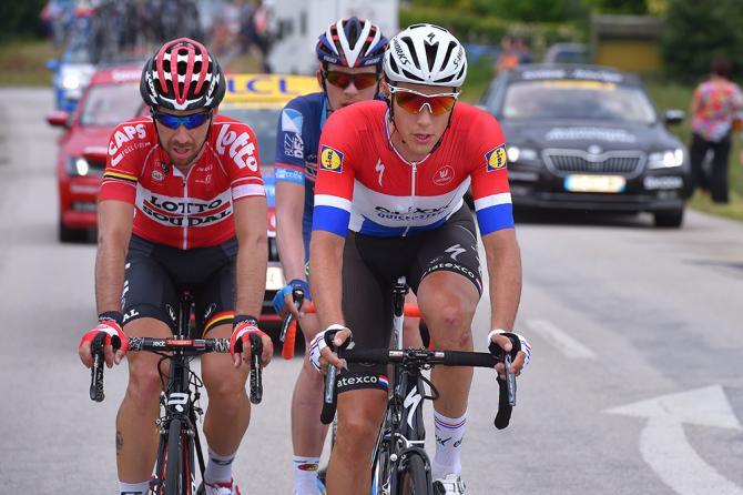 Ники Терпстра (Etixx-QuickStep) побеждает Димитри Клэеиса (Wanty-Groupe Gobert) и Тома Де Гендта (Лотто Судэл) в отрыве. (фото: Tim de Waele/TDWSport.com)