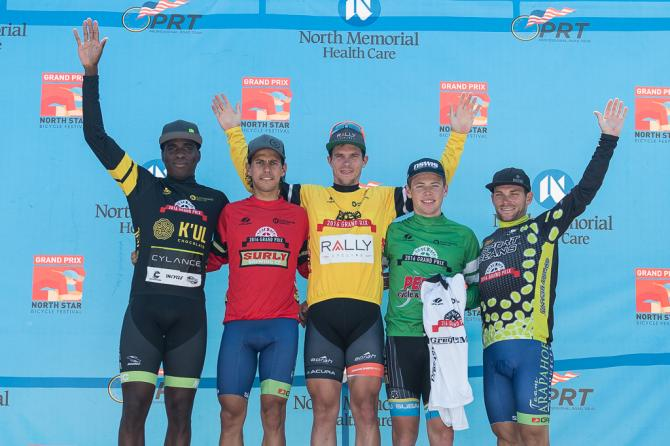 ФИНАЛЬНЫЙ ПОДИУМ: K'ul Chocolate Sprint - Justin Williams (Cylance), Surly Most Aggressive - Julio Padilla (Team Arapahoe Resources), Northstar Grand Prix Winner - Evan Huffman (Rally Cycling), Greg Lemond Best Young Rider/Penn Cycle Top Amateur Ayden Toovey (Subaru), Sport Beans King of the Hill - Andrew Dahlheim (Team Arapahoe Resources) (фото: Matthew Moses/Moses Images)