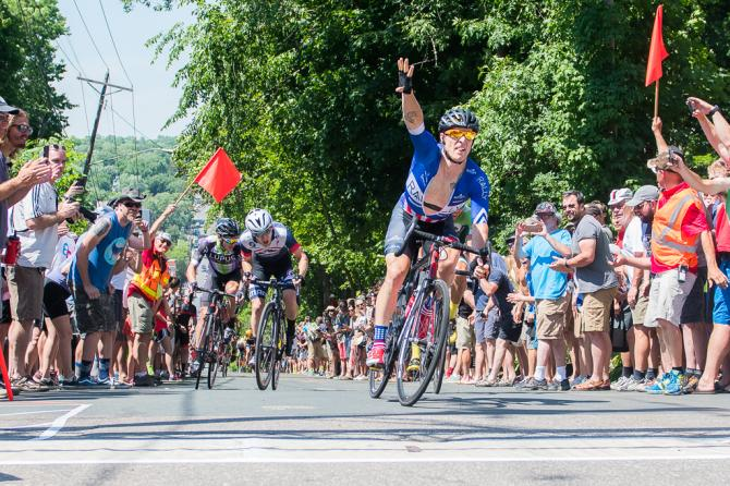 US National Criterium Champion Brad Huff (Rally Cycling) wins the final stage in Stillwater (фото: Matthew Moses/Moses Images)