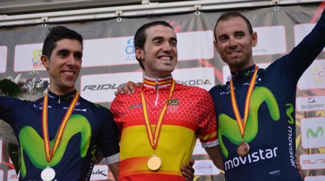 Велогонщики Movistar заняли весь пьедестал почёта (фото: Team Movistar)