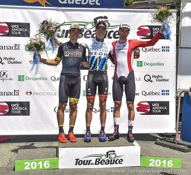 The podium: Robin Carpenter, Neilson Powless and Hugo Houle (фото: Rob Jones)