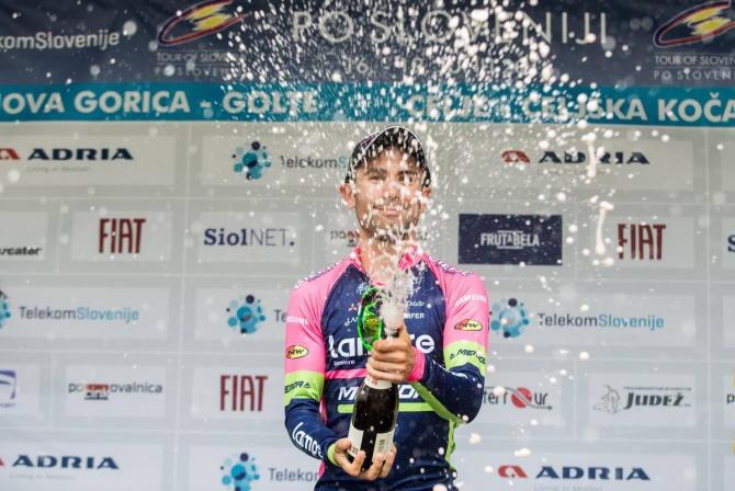 Диего Улисси (Lampre - Merida) празднует свою победу в гонке на время (фото: SPORTIDA/Tour of Slovenia)