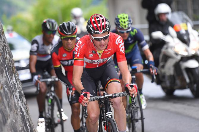 Tim Wellens in the breakaway during stage 5 at the Tour de Suisse (фото: Tim de Waele/TDWSport.com)