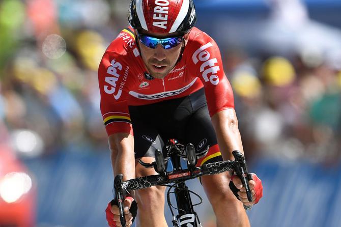 Томас Де Гендт (Lotto Soudal) был первым, но скоро Том Дюмулен показал лучший результат (фото: Getty Images Sport)