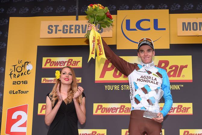 Romain Bardet ont he stage 19 podium (фото: Tim de Waele/TDWSport.com)