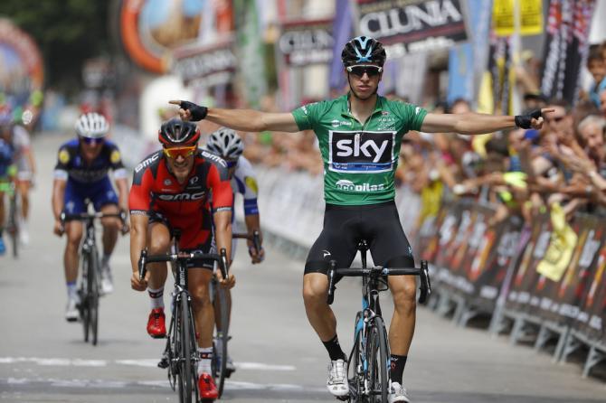 Данни Ван Поппель (Team Sky) празднует победу на этапе (фото: Bettini Photo)